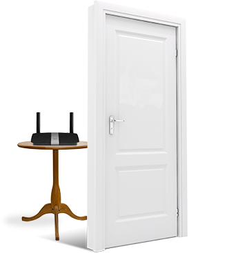 Image of a door with a table blocking it