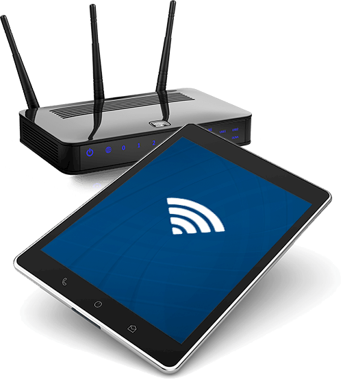 Image of router and a tablet